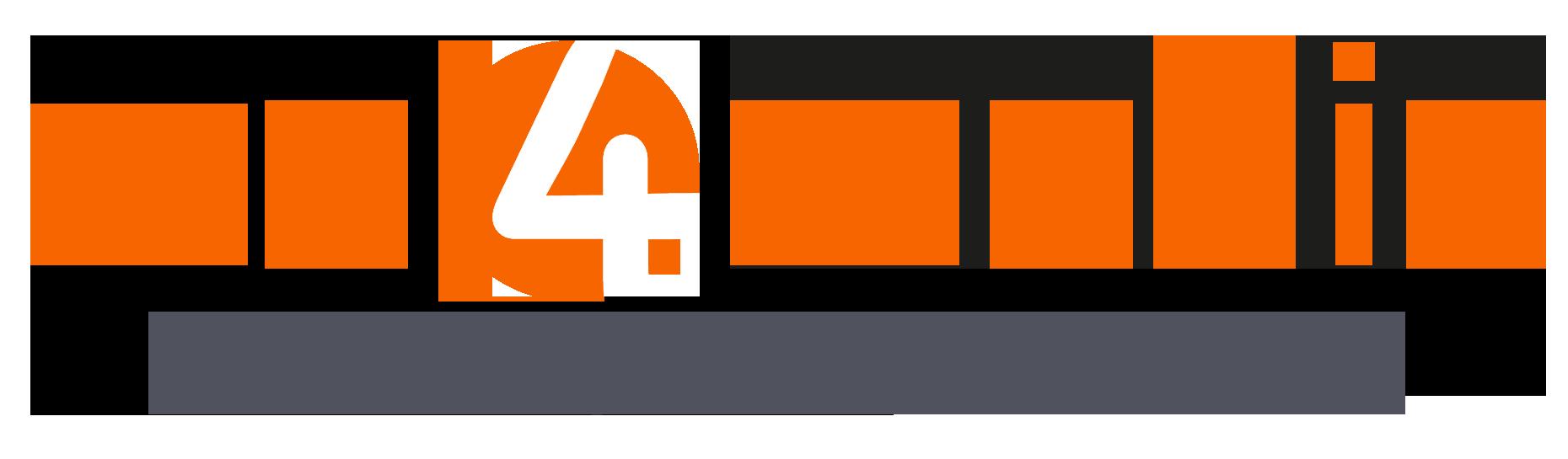 Logo We4Media ORANJEBLAUW